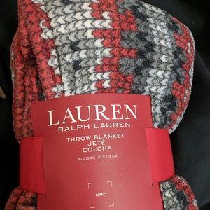 Ralph Lauren Red Cozy Winter Throw Blanket